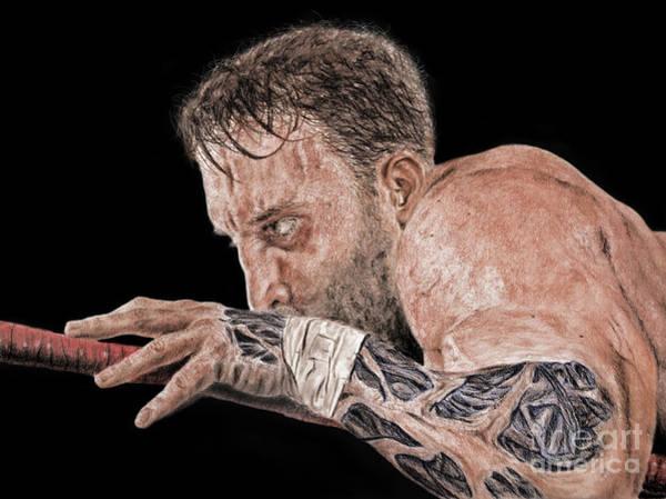 Pro Wrestler Wall Art - Drawing - Pro Wrestler Chris Masters Planning His Move by Jim Fitzpatrick