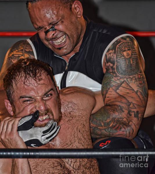 Pro Wrestler Wall Art - Photograph - Pro Wrestler Mvp Applying Pressure To Timothy Thatcher by Jim Fitzpatrick