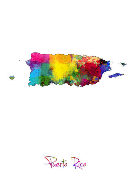 Digital Art - Puerto Rico Watercolor Map by Michael Tompsett