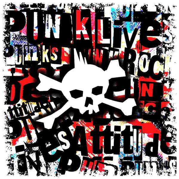 Punk Rock Digital Art - Punk Skull by Roseanne Jones