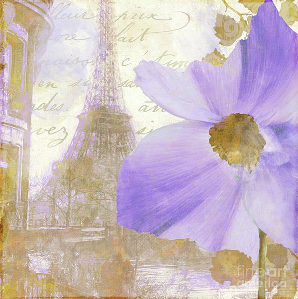Retro Paris Painting - Purple Paris I by Mindy Sommers