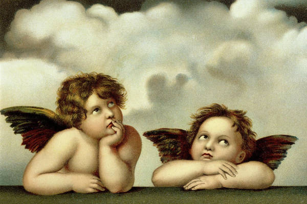 Sistine Wall Art - Painting - Putti Detail From The Sistine Madonna  by Raphael