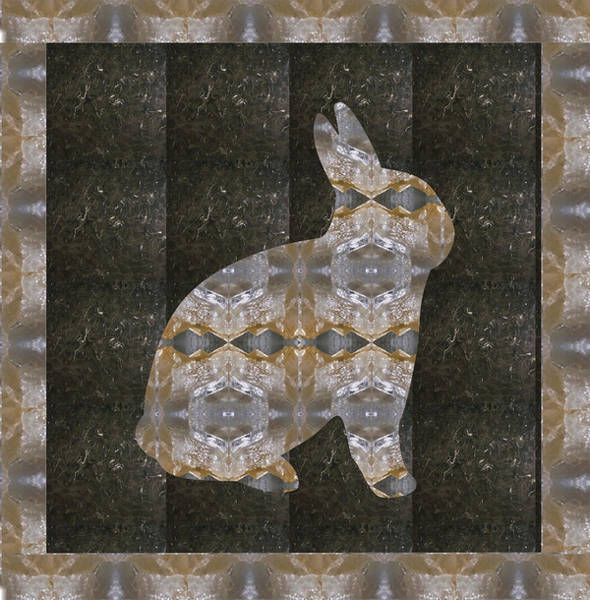 Kenya Mixed Media - Rabbit Bunny Khargosh Made Of Crystal Stone Leather Green Background Stitched Look by Navin Joshi
