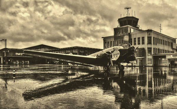 Ju 52 Wall Art - Photograph - Rain At The Airport - Paderborn, Germany by Pixabay
