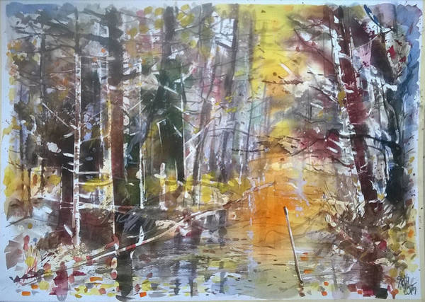 Painting - Rain In The Forest. by Lorand Sipos