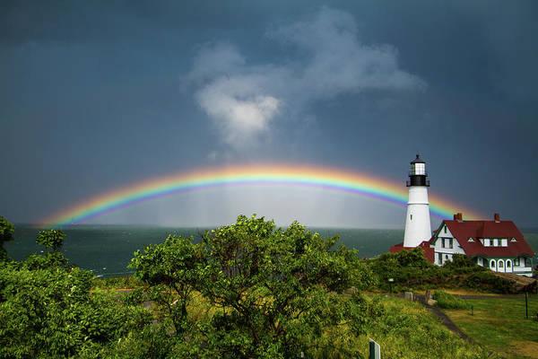 Rainbow At Portland Headlight Art Print