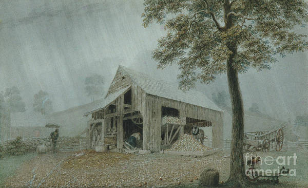 Wall Art - Painting - Rainstorm, Cider Mill At Redding, Connecticut by George Harvey