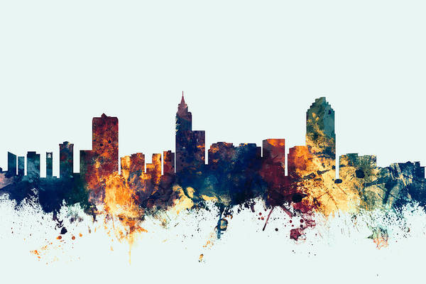 Wall Art - Digital Art - Raleigh North Carolina Skyline by Michael Tompsett
