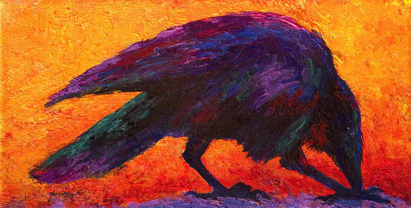 Ravens Painting - Raven by Marion Rose