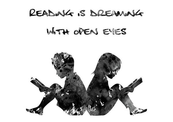 Reader Digital Art - Reading Is Dreaming With Open Eyes by Erzebet S