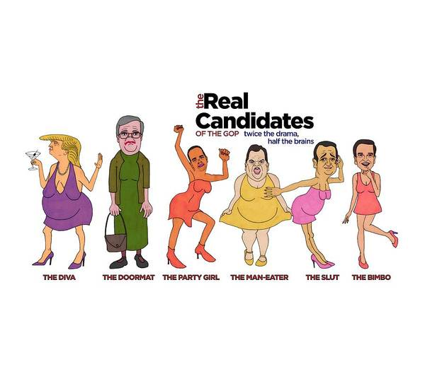 Election 2016 Painting - Real Candidates Of The Gop -clear Background Version by Sean Corcoran