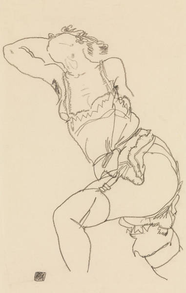 Austrian Drawing - Reclining Model In Chemise And Stockings by Egon Schiele
