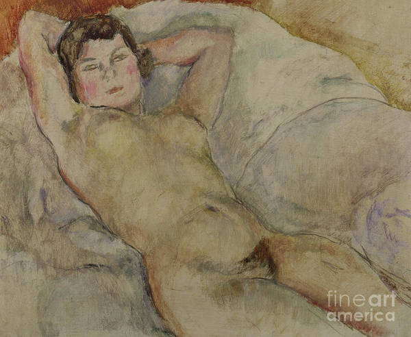 Seductive Painting - Reclining Nude by Jules Pascin