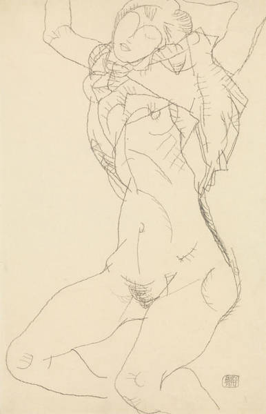 Austrian Drawing - Reclining Semi-nude With Arms Raised by Egon Schiele