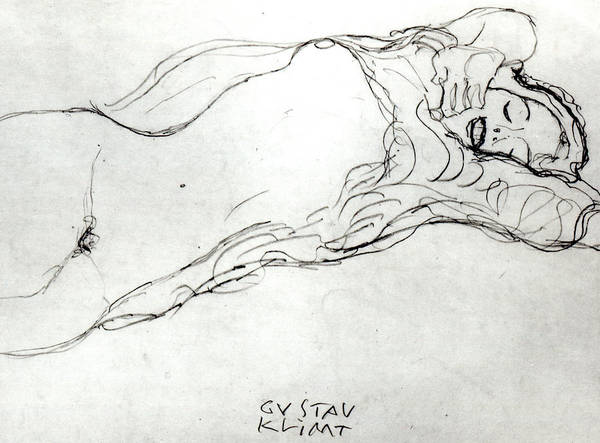 Sensual Drawing - Reclining Woman by Gustav Klimt