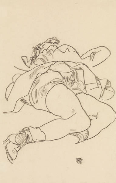 Austrian Drawing - Reclining Woman With Raised Skirt by Egon Schiele