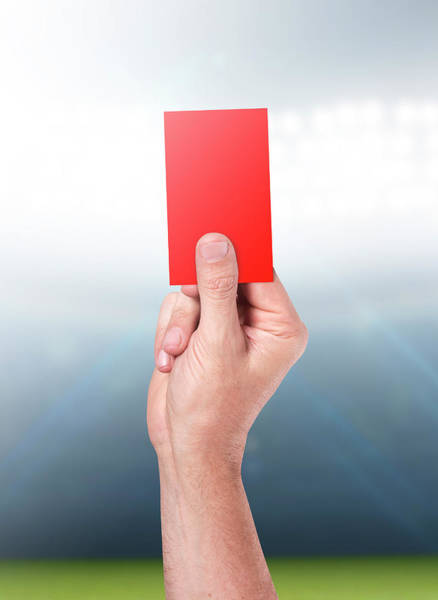 Wall Art - Digital Art - Red Card On Stadium Background by Allan Swart