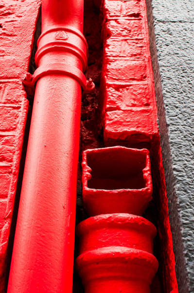 Drainage Photograph - Red Drainpipe by Tom Gowanlock