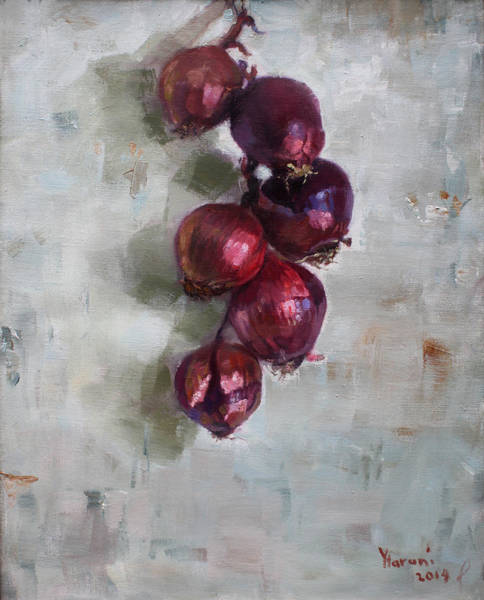 Still-life Painting - Red Onions by Ylli Haruni