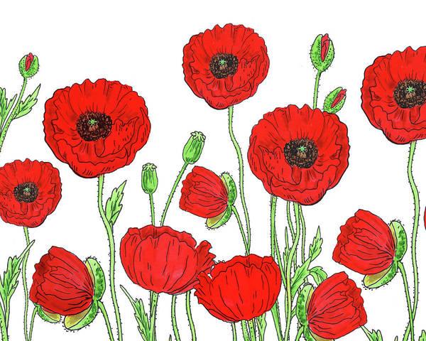 Painting - Red Poppies Field by Irina Sztukowski