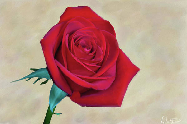 Digital Art - Red Rose Painting by Garvin Hunter