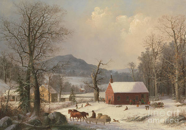 Wall Art - Painting - Red School House by George Henry Durrie
