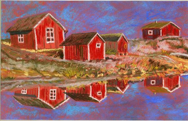 Red Barn Painting - Red Shacks by Ferne McGinnis