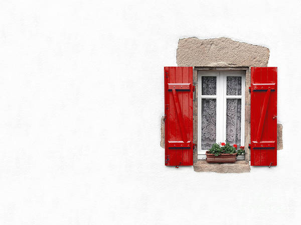 Red Geraniums Wall Art - Photograph - Red Shuttered Window On White by Jane Rix