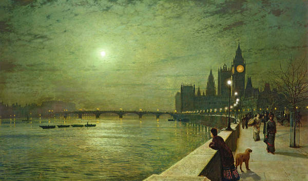 Painting - Reflections On The Thames, Westminster by John Atkinson Grimshaw