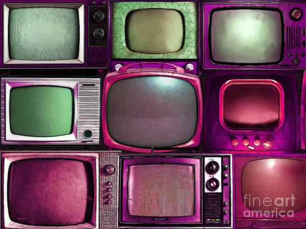 Crt Digital Art - Retro Television Marathon 20150928 V2 M68 by Wingsdomain Art and Photography