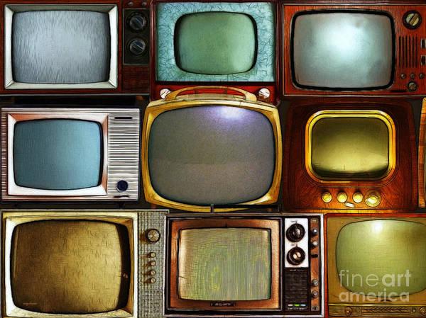 Crt Digital Art - Retro Television Marathon 20150928 V2 by Wingsdomain Art and Photography