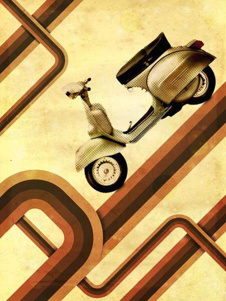Vehicle Digital Art - Retro Vespa Scooter by Michael Tompsett