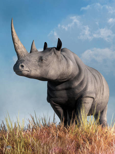 Digital Art - Rhino by Daniel Eskridge