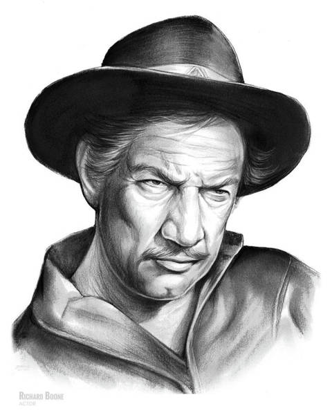 Actor Drawing - Richard Boone by Greg Joens