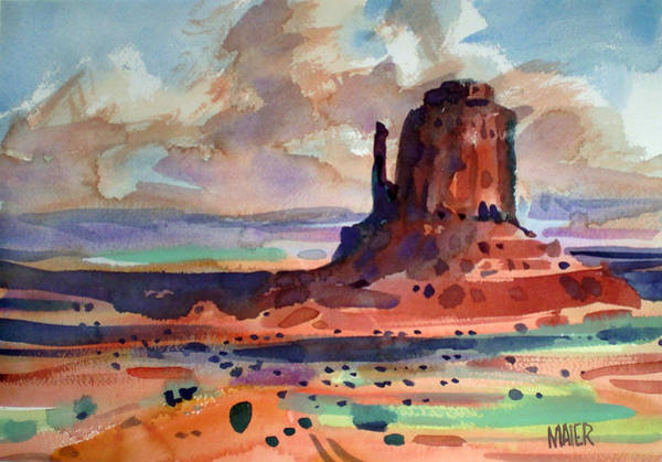 Monument Valley Navajo Tribal Park Wall Art - Painting - Right Mitten by Donald Maier