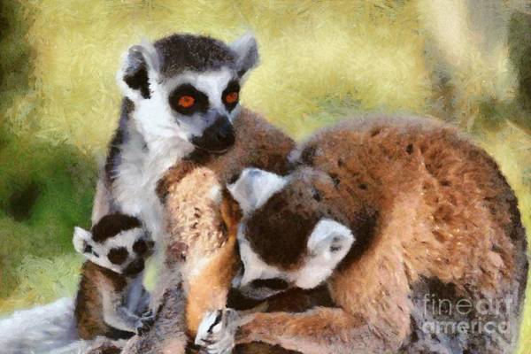 Ring-tailed Lemur Painting - Ring Tailed Lemurs Family by George Atsametakis