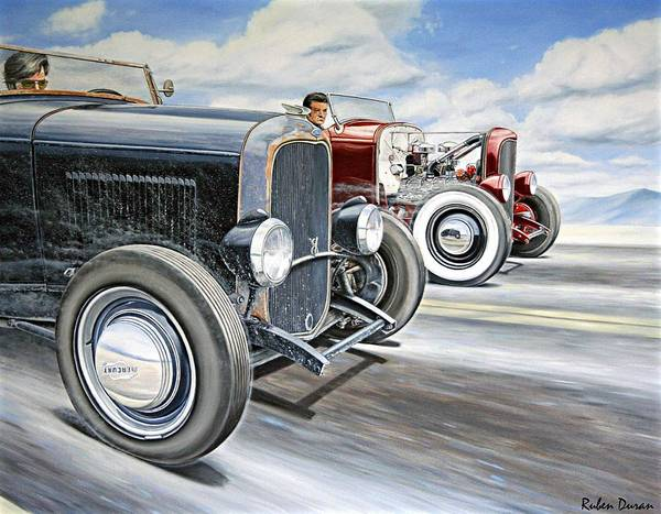 Wall Art - Painting - Roadster Race by Ruben Duran