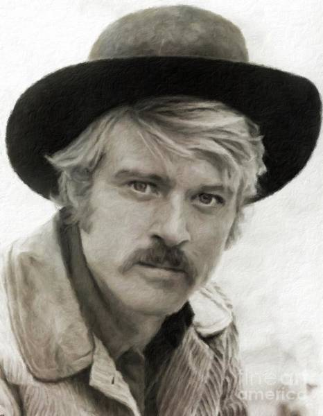 Pinewood Painting - Robert Redford Hollywood Actor by Mary Bassett