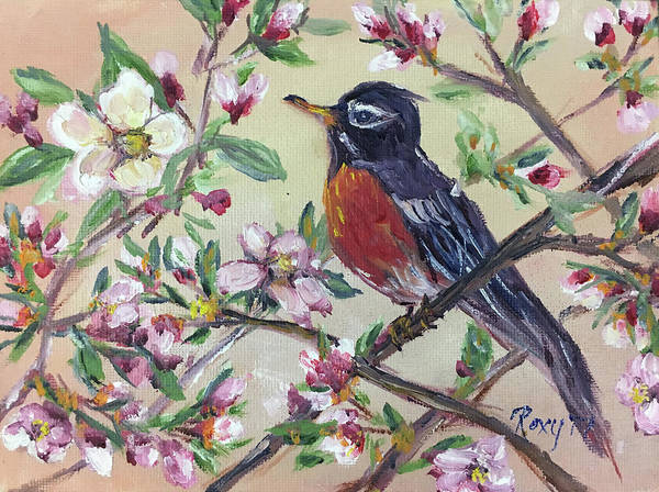 Animal Painting - Robin In A Budding Cherry Tree by Roxy Rich