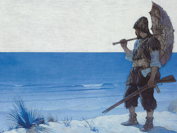 Maroon Painting - Robinson Crusoe by Newell Convers Wyeth