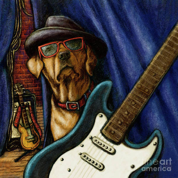 Yellow Lab Mixed Media - Rock In Roll Lab by Kathleen Harte Gilsenan