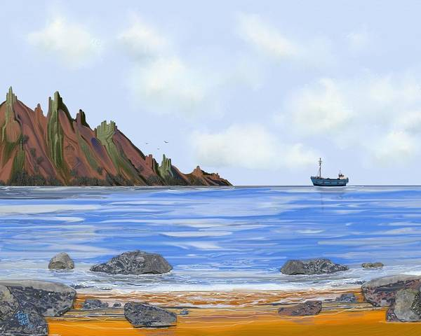 Digital Art - Rocky Shores by Tony Rodriguez