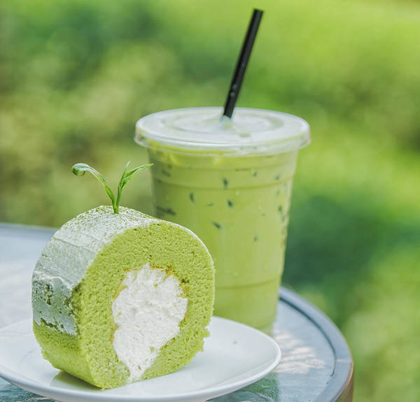 Cheese Cake Wall Art - Photograph - Roll Cake And Ice Green Tea by Anek Suwannaphoom