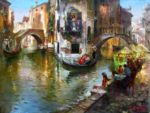 In Wall Art - Painting - Romance In Venice by Ylli Haruni
