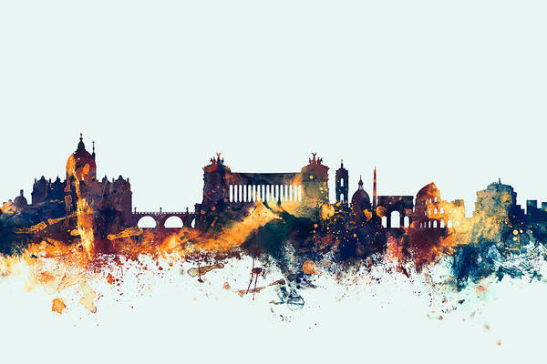 Roma Wall Art - Digital Art - Rome Italy Skyline by Michael Tompsett