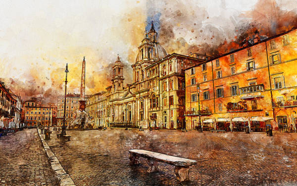 Painting - Rome, Piazza Navona - 03 by Andrea Mazzocchetti