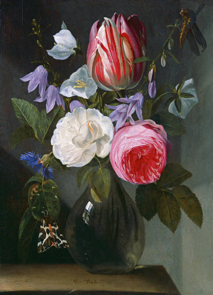 Painting - Roses And A Tulip In A Glass Vase by Jan Philips van Thielen
