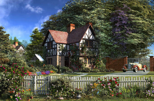Traditional Home Digital Art - Roses House by MGL Meiklejohn Graphics Licensing