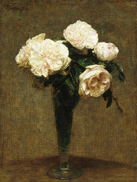 Painting - Roses In A Vase by Henri Fantin-Latour