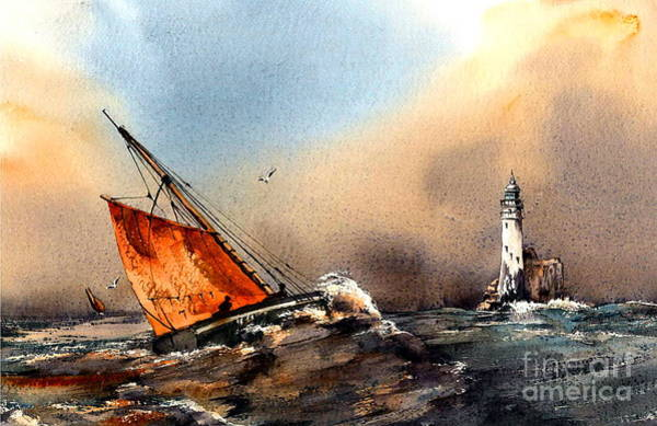 Painting - Rounding The Fastnet, Cork by Val Byrne